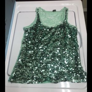 Mint Green with sequins raserback tank